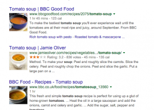 SERPs with rich snippets