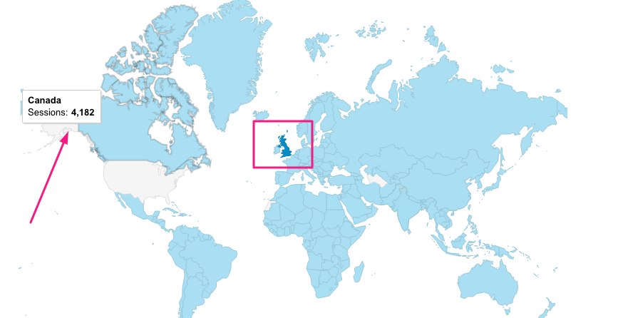Visits from another country in Google Analytics