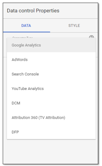 Data control properties in Google Data Studio