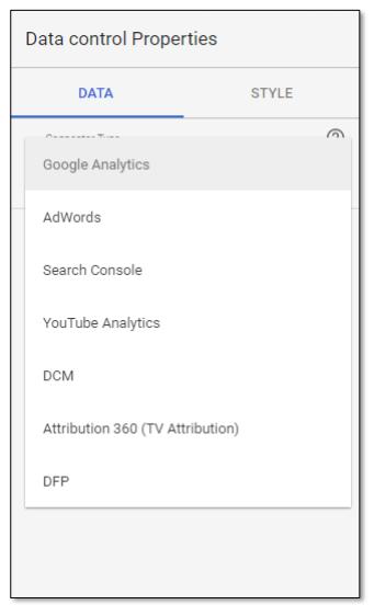 Data control properties in Google Data Studio