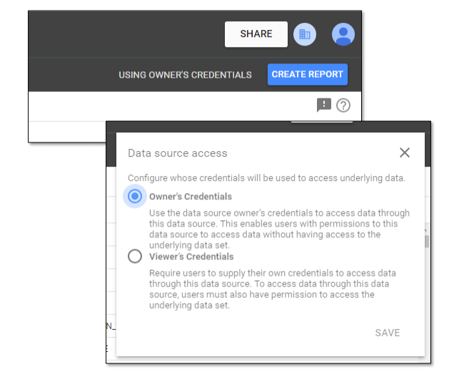 Data source access in Google Data Studio