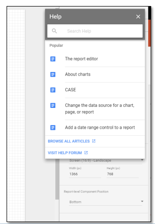 Help Section - Google Data Studio