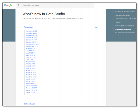 Release notes - Google Data Studio