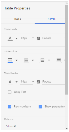 Style widgets in Google Data Studio