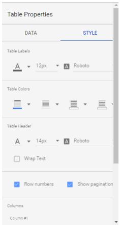 Style widgets in Google Data Studio