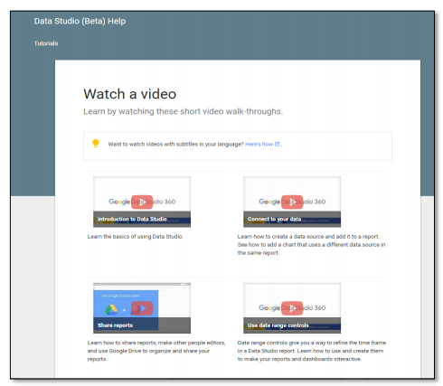 Watch a tutorial - Google Data Studio