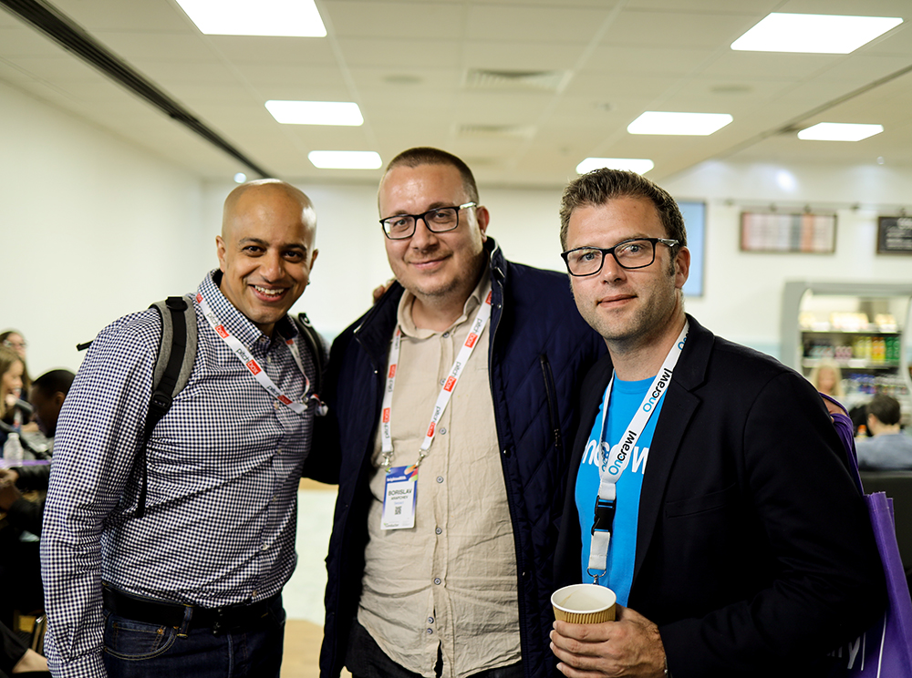 Francois Goube with Borislav Arapchev and Omi Sido at BrightonSEO