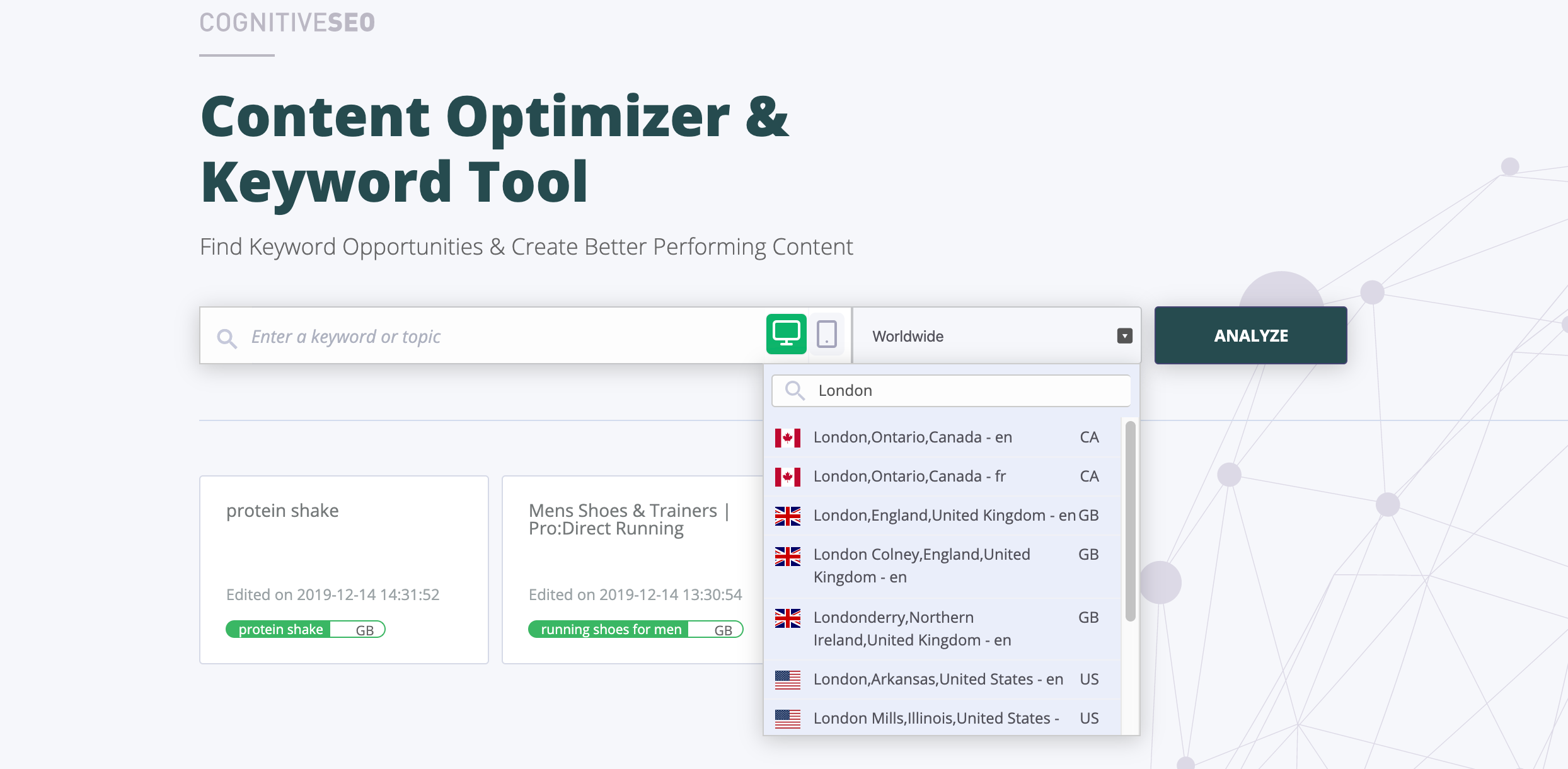 Content Optimizer & Keyword Tool