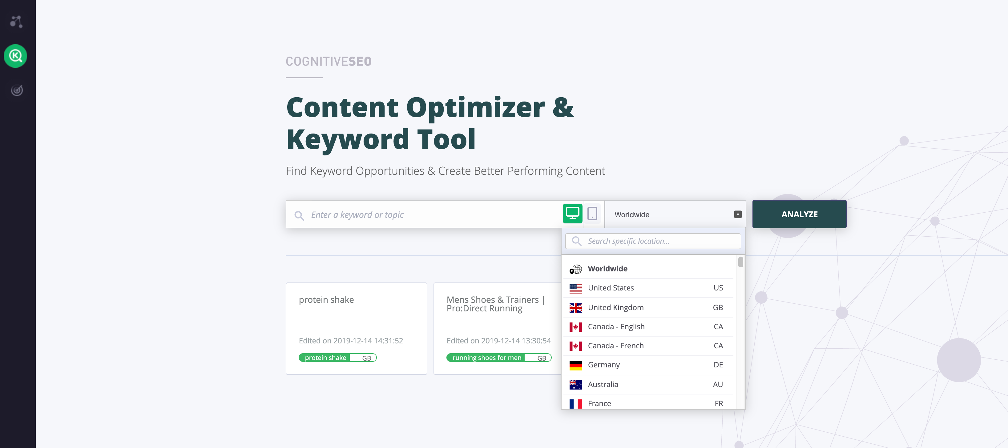 CognitiveSEO Content Optimiser & Keyword Tool
