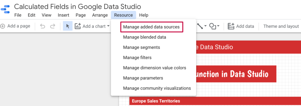Manage Added Data Sources in Data Studio