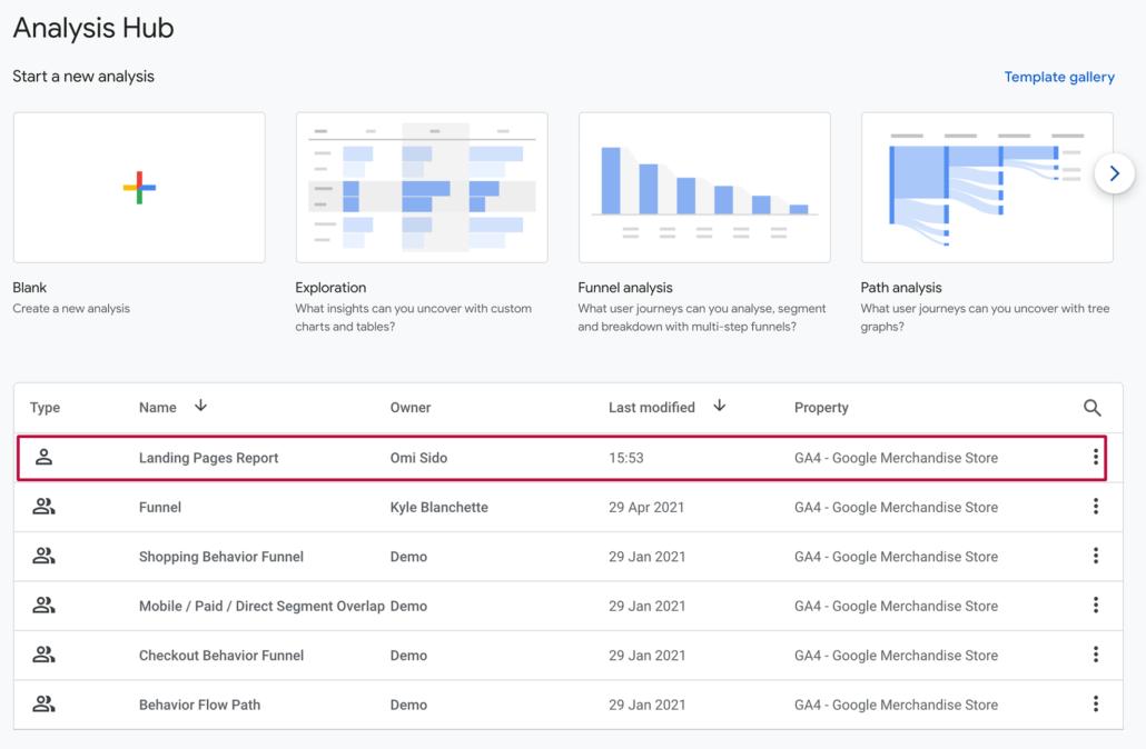 Analysis Hub Google Analytics 4