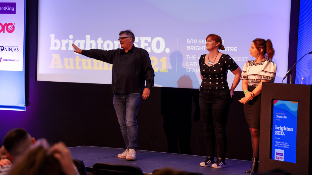 Natalie Arney with Dixon Jones and Joanna Beech at BrightonSEO